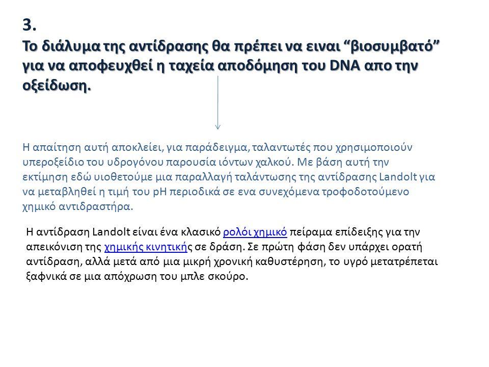 """3. Το διάλυμα της αντίδρασης θα πρέπει να ειναι """"βιοσυμβατό"""" για να αποφευχθεί η ταχεία αποδόμηση του DNA απο την οξείδωση. Η απαίτηση αυτή αποκλείει,"""