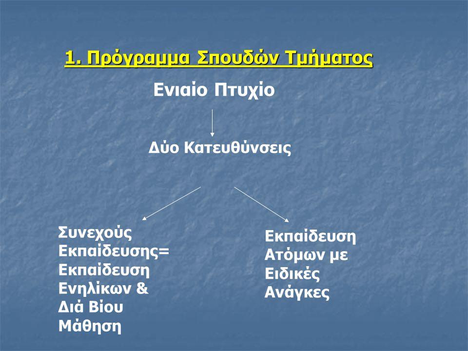 Πρώτος Κύκλος Σπουδών - ΚΟΡΜΟΣ: (α) Κοινός για όλους τους φοιτητές-τριες (β) Διάρκεια: 1 έτος (2 εξάμηνα σπουδών) Δεύτερος Κύκλος Σπουδών- ΚΑΤΕΥΘΥΝΣΗ: (α) Επιλέγεται από τις φοιτήτριες-τές με την έναρξη του Γ΄ εξαμήνου σπουδών (β) Διάρκεια: 3 έτη (6 εξάμηνα σπουδών) (γ) Πρακτική Άσκηση 2 εξαμήνων (7 ο & 8 ο )