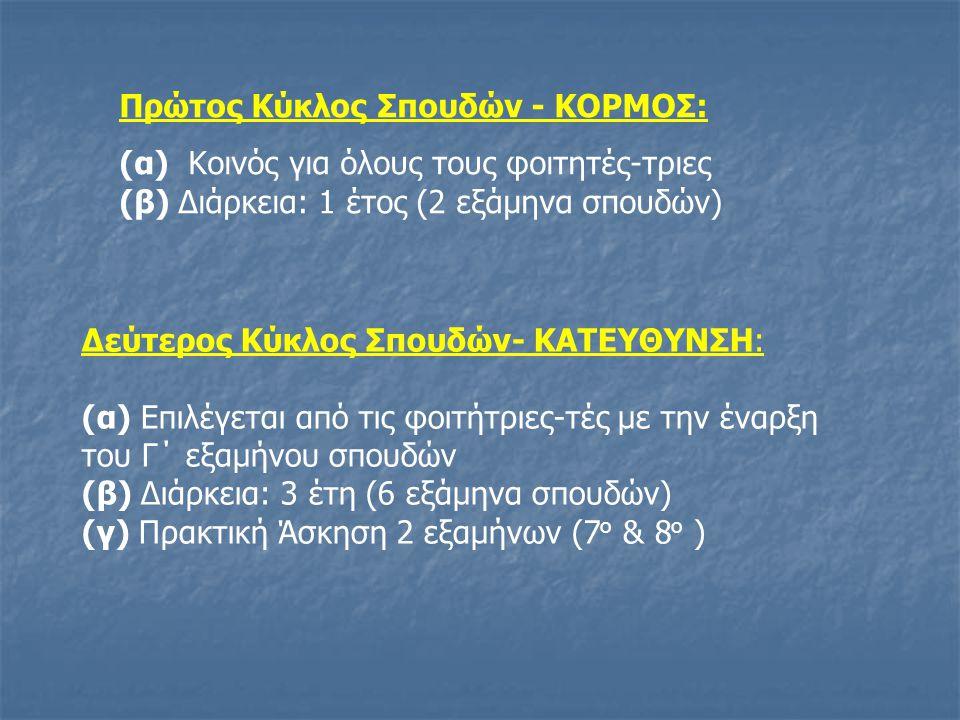 Πρώτος Κύκλος Σπουδών - ΚΟΡΜΟΣ: (α) Κοινός για όλους τους φοιτητές-τριες (β) Διάρκεια: 1 έτος (2 εξάμηνα σπουδών) Δεύτερος Κύκλος Σπουδών- ΚΑΤΕΥΘΥΝΣΗ: