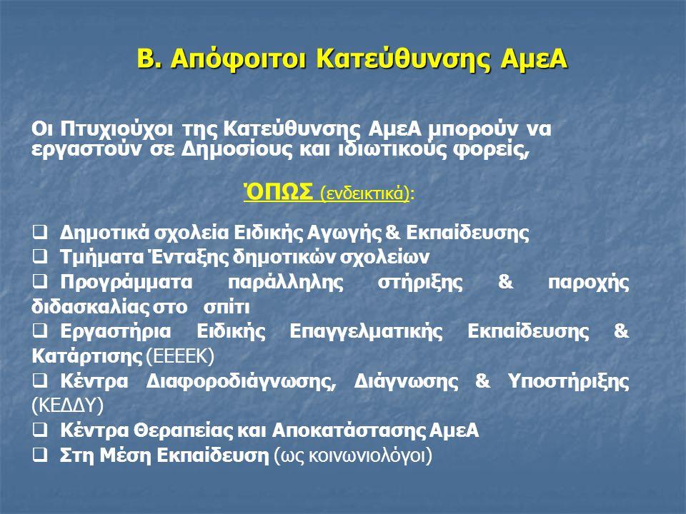 Β. Απόφοιτοι Κατεύθυνσης ΑμεΑ Οι Πτυχιούχοι της Κατεύθυνσης ΑμεΑ μπορούν να εργαστούν σε Δημοσίους και ιδιωτικούς φορείς, ΌΠΩΣ (ενδεικτικά):  Δημοτικ