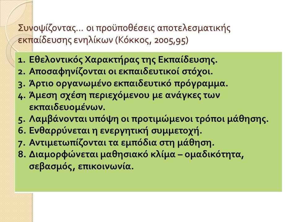 Συνοψίζοντας … οι προϋποθέσεις αποτελεσματικής εκπαίδευσης ενηλίκων ( Κόκκος, 2005,95) 1.Εθελοντικός Χαρακτήρας της Εκπαίδευσης. 2.Αποσαφηνίζονται οι
