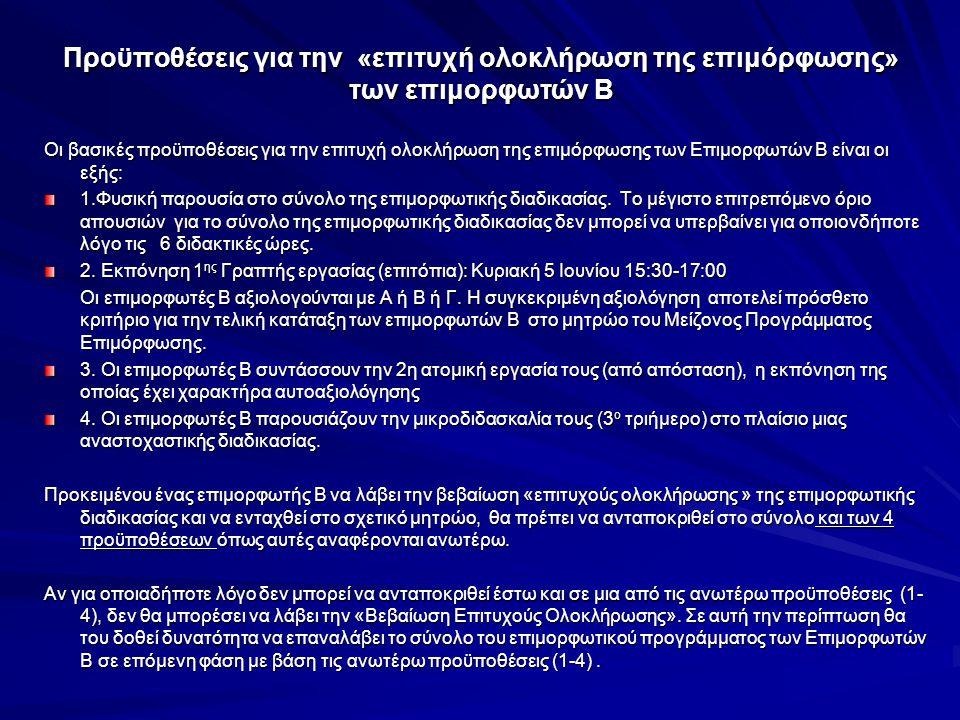 Προϋποθέσεις για την «επιτυχή ολοκλήρωση της επιμόρφωσης» των επιμορφωτών Β Οι βασικές προϋποθέσεις για την επιτυχή ολοκλήρωση της επιμόρφωσης των Επι
