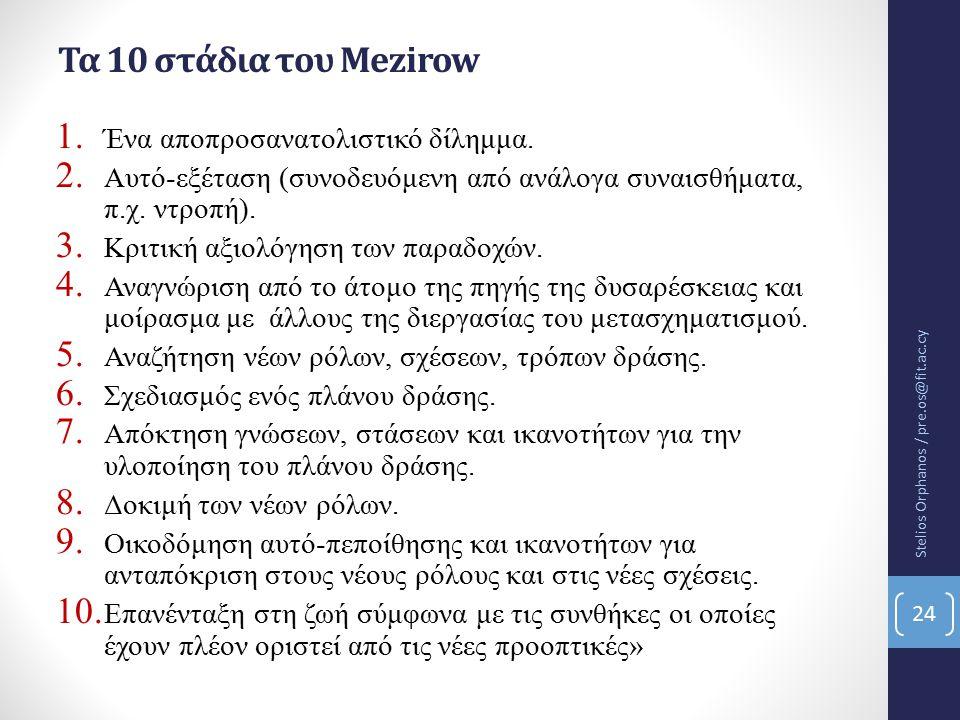 Τα 10 στάδια του Mezirow 1.Ένα αποπροσανατολιστικό δίλημμα.