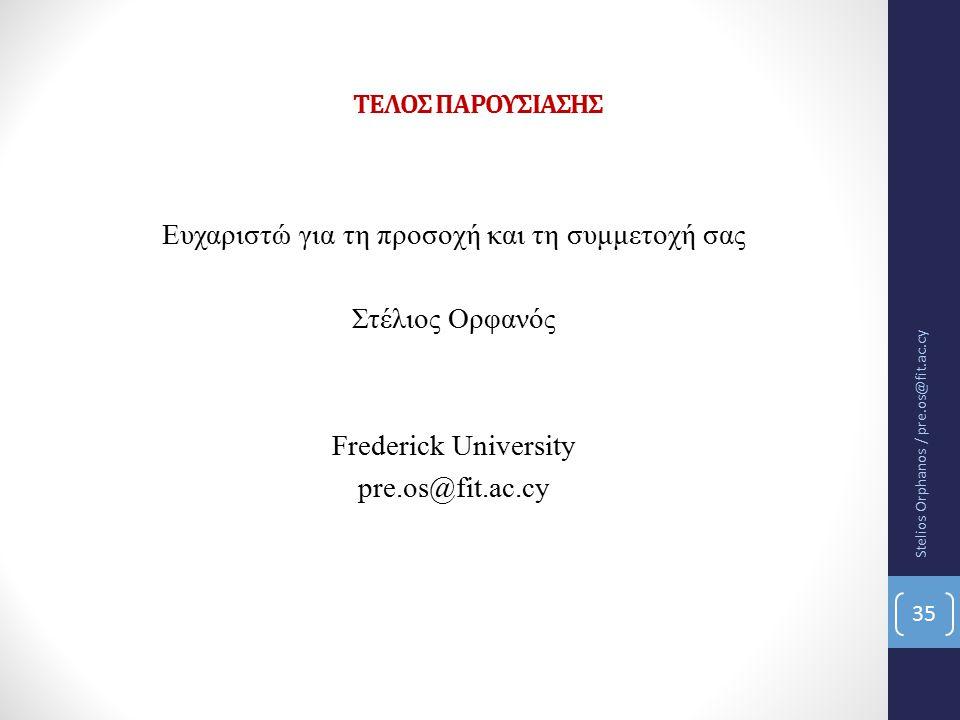 ΤΕΛΟΣ ΠΑΡΟΥΣΙΑΣΗΣ Ευχαριστώ για τη προσοχή και τη συμμετοχή σας Στέλιος Ορφανός Frederick University pre.os@fit.ac.cy Stelios Orphanos / pre.os@fit.ac.cy 35