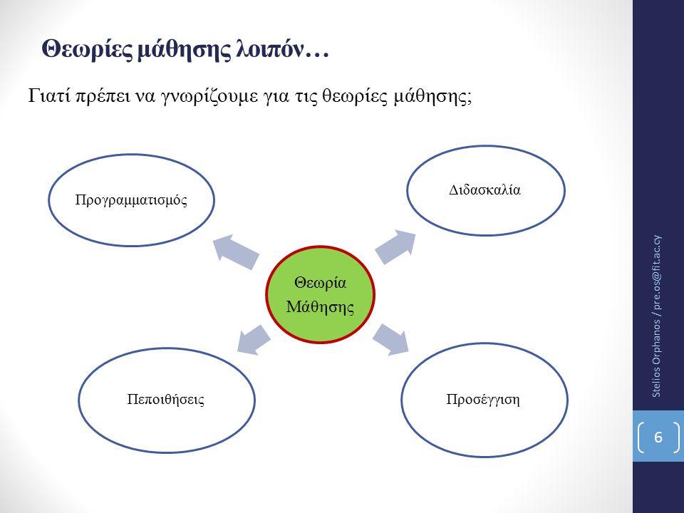 Θεωρίες μάθησης λοιπόν… Γιατί πρέπει να γνωρίζουμε για τις θεωρίες μάθησης; Θεωρία Μάθησης Διδασκαλία Προσέγγιση Πεποιθήσεις Προγραμματισμός Stelios Orphanos / pre.os@fit.ac.cy 6