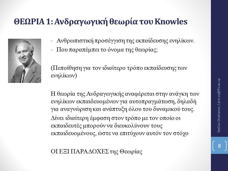 ΘΕΩΡΙΑ 1: Ανδραγωγική θεωρία του Knowles -Ανθρωπιστική προσέγγιση της εκπαίδευσης ενηλίκων.
