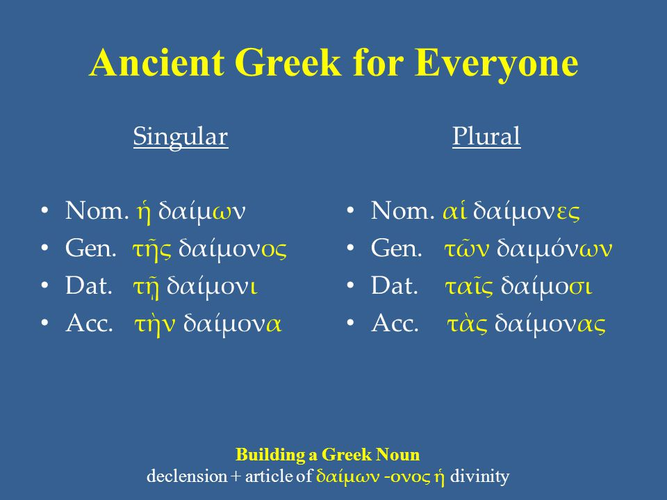 Ancient Greek for Everyone Singular Nom. ἡ δαίμων Gen.
