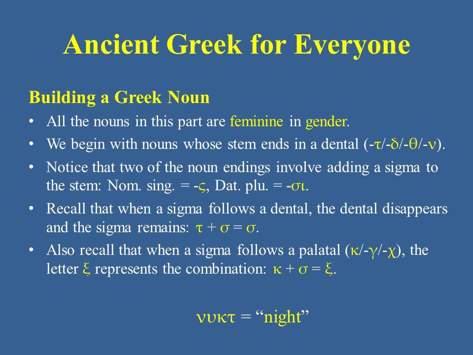 Ancient Greek for Everyone Unit 3 part 2 Vocabulary: NT (New Testament) ἐλπίς -δος ἡ hope νύξ, νυκτός ἡ night