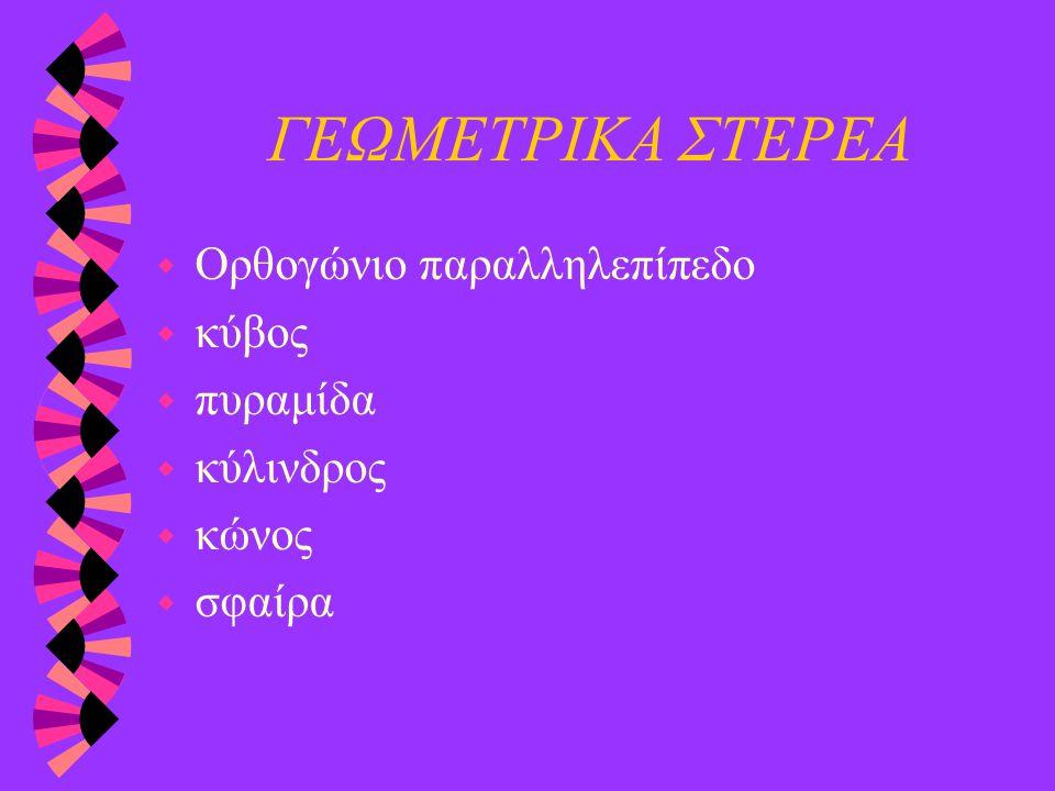 ΓΕΩΜΕΤΡΙΚΑ ΣΤΕΡΕΑ w Ορθογώνιο παραλληλεπίπεδο w κύβος w πυραμίδα w κύλινδρος w κώνος w σφαίρα