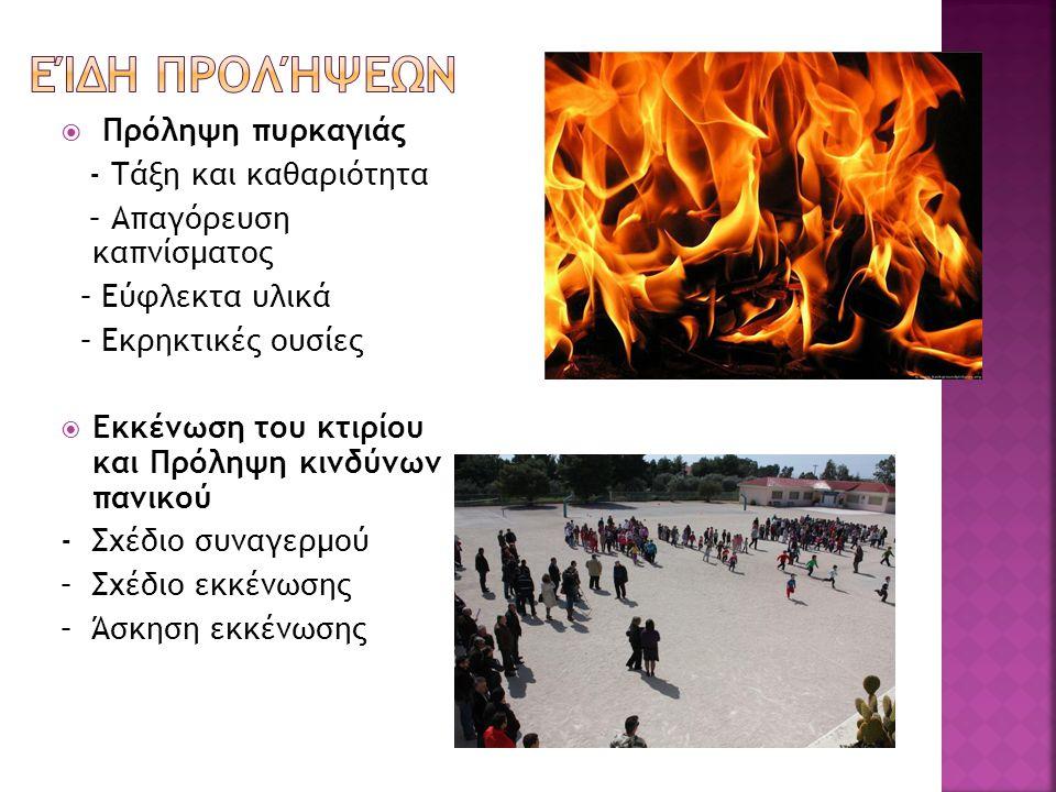  Πρόληψη πυρκαγιάς - Τάξη και καθαριότητα – Απαγόρευση καπνίσματος – Εύφλεκτα υλικά – Εκρηκτικές ουσίες  Εκκένωση του κτιρίου και Πρόληψη κινδύνων πανικού - Σχέδιο συναγερμού – Σχέδιο εκκένωσης – Άσκηση εκκένωσης