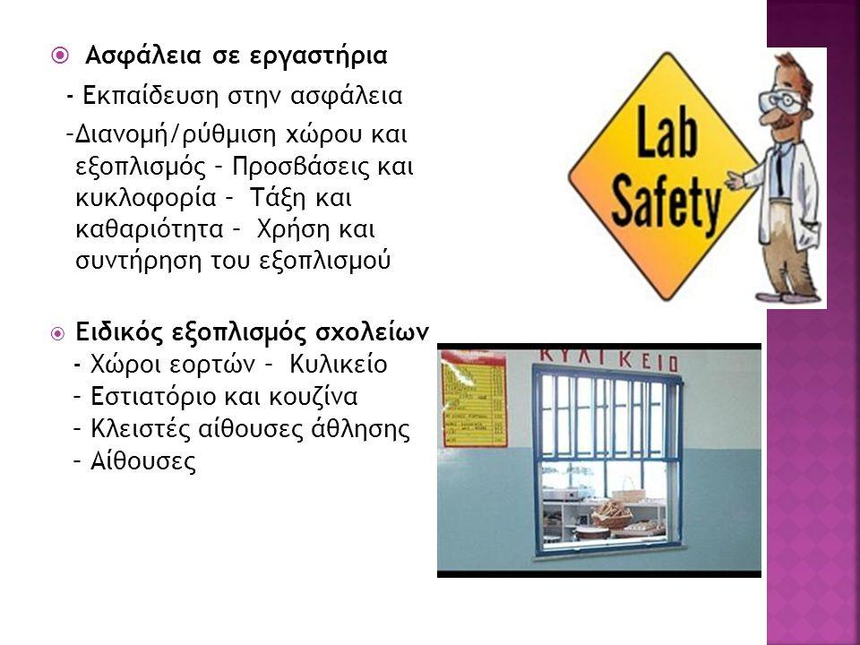 Ασφάλεια σε εργαστήρια - Εκπαίδευση στην ασφάλεια –Διανομή/ρύθμιση χώρου και εξοπλισμός – Προσβάσεις και κυκλοφορία – Τάξη και καθαριότητα – Χρήση και συντήρηση του εξοπλισμού  Ειδικός εξοπλισμός σχολείων - Χώροι εορτών – Κυλικείο – Εστιατόριο και κουζίνα – Κλειστές αίθουσες άθλησης – Αίθουσες