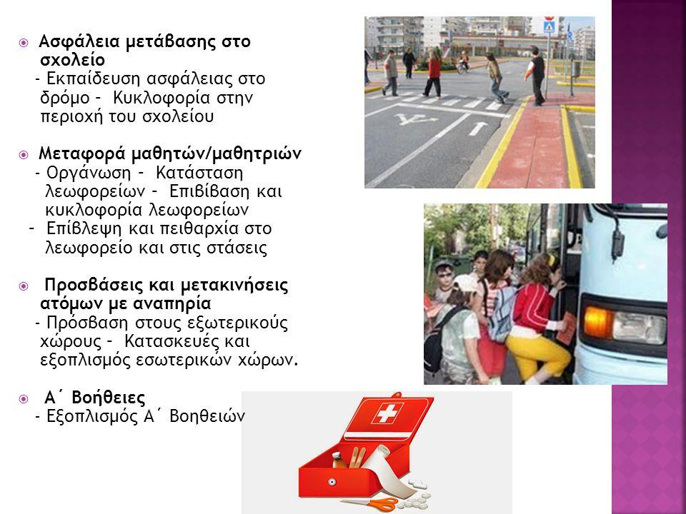  Ασφάλεια μετάβασης στο σχολείο - Εκπαίδευση ασφάλειας στο δρόμο – Κυκλοφορία στην περιοχή του σχολείου  Μεταφορά μαθητών/μαθητριών - Οργάνωση – Κατάσταση λεωφορείων – Επιβίβαση και κυκλοφορία λεωφορείων – Επίβλεψη και πειθαρχία στο λεωφορείο και στις στάσεις  Προσβάσεις και μετακινήσεις ατόμων με αναπηρία - Πρόσβαση στους εξωτερικούς χώρους – Κατασκευές και εξοπλισμός εσωτερικών χώρων.