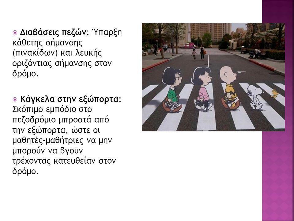  Διαβάσεις πεζών: Ύπαρξη κάθετης σήμανσης (πινακίδων) και λευκής οριζόντιας σήμανσης στον δρόμο.
