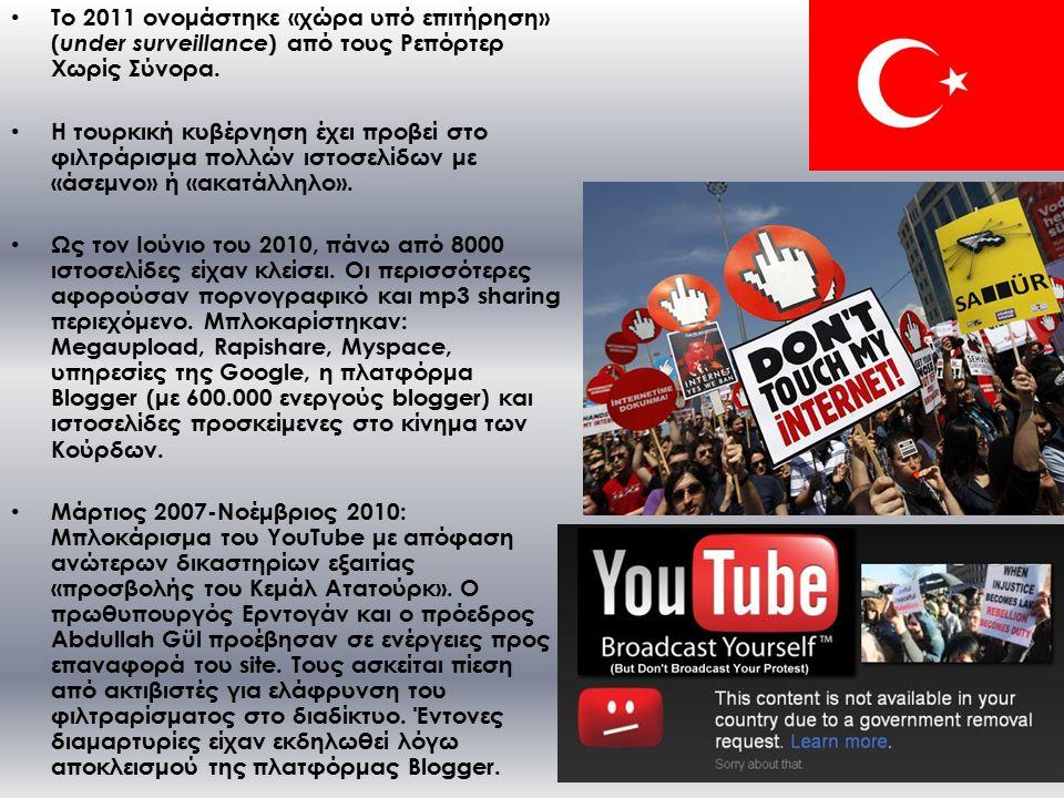 Το 2011 ονομάστηκε «χώρα υπό επιτήρηση» ( under surveillance ) από τους Ρεπόρτερ Χωρίς Σύνορα.