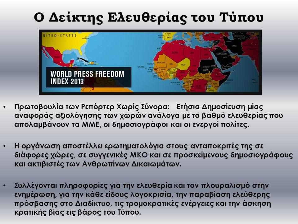 Ο Δείκτης Ελευθερίας του Τύπου Πρωτοβουλία των Ρεπόρτερ Χωρίς Σύνορα: Ετήσια Δημοσίευση μίας αναφοράς αξιολόγησης των χωρών ανάλογα με το βαθμό ελευθερίας που απολαμβάνουν τα ΜΜΕ, οι δημοσιογράφοι και οι ενεργοί πολίτες.