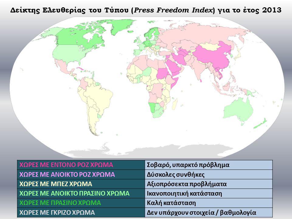 Δείκτης Ελευθερίας του Τύπου ( Press Freedom Index ) για το έτος 2013 ΧΩΡΕΣ ΜΕ ΕΝΤΟΝΟ ΡΟΖ ΧΡΩΜΑΣοβαρό, υπαρκτό πρόβλημα ΧΩΡΕΣ ΜΕ ΑΝΟΙΚΤΟ ΡΟΖ ΧΡΩΜΑΔύσκολες συνθήκες ΧΩΡΕΣ ΜΕ ΜΠΕΖ ΧΡΩΜΑΑξιοπρόσεκτα προβλήματα ΧΩΡΕΣ ΜΕ ΑΝΟΙΚΤΟ ΠΡΑΣΙΝΟ ΧΡΩΜΑΙκανοποιητική κατάσταση ΧΩΡΕΣ ΜΕ ΠΡΑΣΙΝΟ ΧΡΩΜΑΚαλή κατάσταση ΧΩΡΕΣ ΜΕ ΓΚΡΙΖΟ ΧΡΩΜΑΔεν υπάρχουν στοιχεία / βαθμολογία