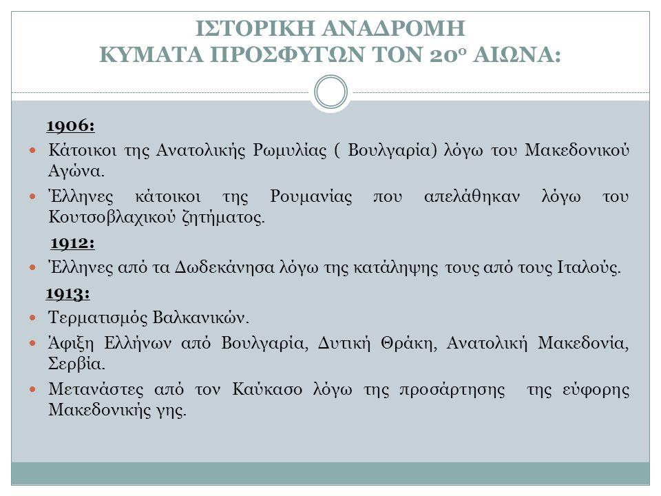 ΙΣΤΟΡΙΚΗ ΑΝΑΔΡΟΜΗ ΚΥΜΑΤΑ ΠΡΟΣΦΥΓΩΝ ΤΟΝ 20 ο ΑΙΩΝΑ: 1914: Έλληνες της Ανατολικής Θράκης που εκδιώχθηκαν λόγω της εισόδου της Τουρκίας στον Α΄Παγκόσμιο Πόλεμο.