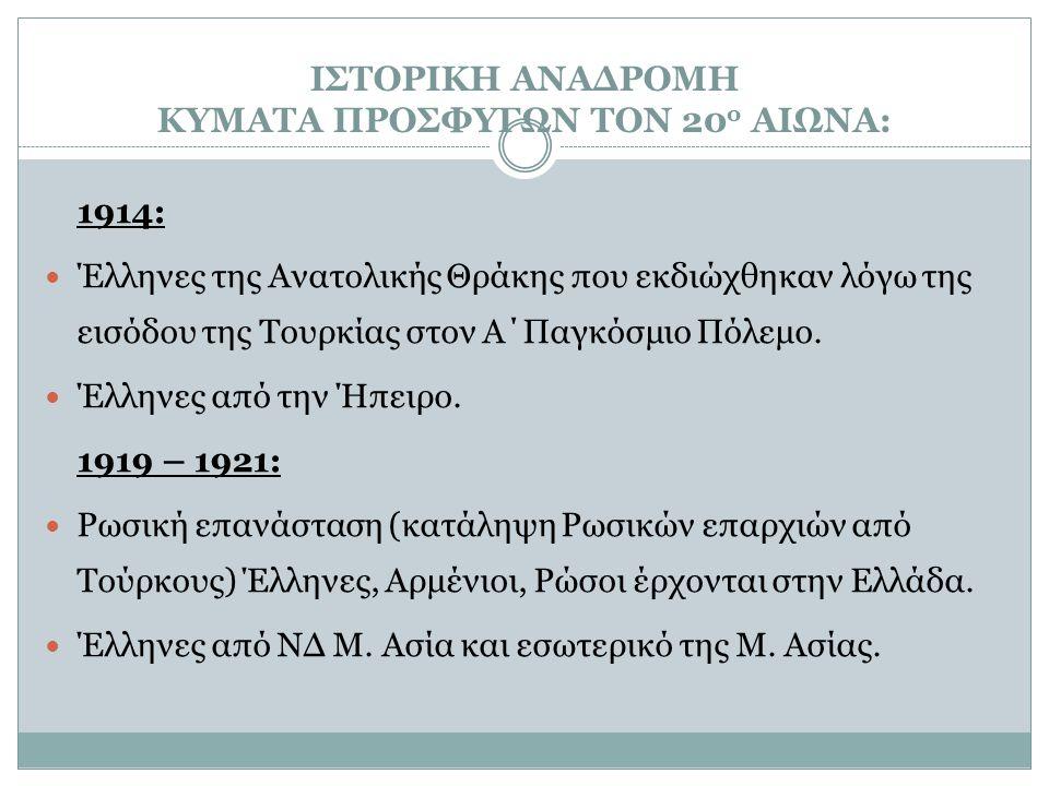 ΙΣΤΟΡΙΚΗ ΑΝΑΔΡΟΜΗ ΚΥΜΑΤΑ ΠΡΟΣΦΥΓΩΝ ΤΟΝ 20 ο ΑΙΩΝΑ: 1914: Έλληνες της Ανατολικής Θράκης που εκδιώχθηκαν λόγω της εισόδου της Τουρκίας στον Α΄Παγκόσμιο