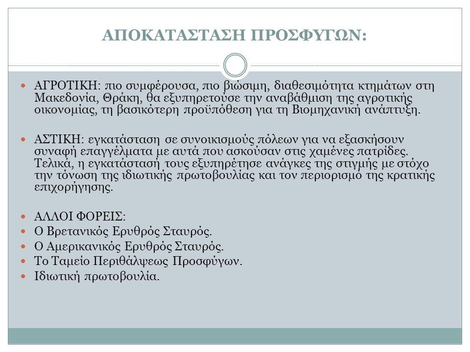 ΑΠΟΚΑΤΑΣΤΑΣΗ ΠΡΟΣΦΥΓΩΝ: ΑΓΡΟΤΙΚΗ: πιο συμφέρουσα, πιο βιώσιμη, διαθεσιμότητα κτημάτων στη Μακεδονία, Θράκη, θα εξυπηρετούσε την αναβάθμιση της αγροτικ
