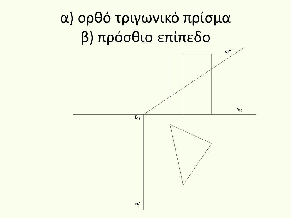 Τομή ορθού τριγωνικού πρίσματος με πρόσθιο επίπεδο