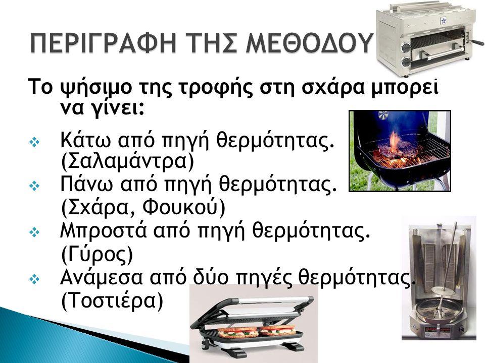 Το ψήσιμο της τροφής στη σχάρα μπορεί να γίνει:  Κάτω από πηγή θερμότητας. (Σαλαμάντρα)  Πάνω από πηγή θερμότητας. (Σχάρα, Φουκού)  Μπροστά από πηγ