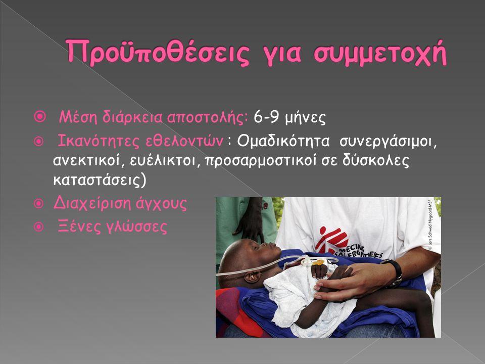  Μέση διάρκεια αποστολής: 6-9 μήνες  Ικανότητες εθελοντών : Ομαδικότητα συνεργάσιμοι, ανεκτικοί, ευέλικτοι, προσαρμοστικοί σε δύσκολες καταστάσεις)  Διαχείριση άγχους  Ξένες γλώσσες