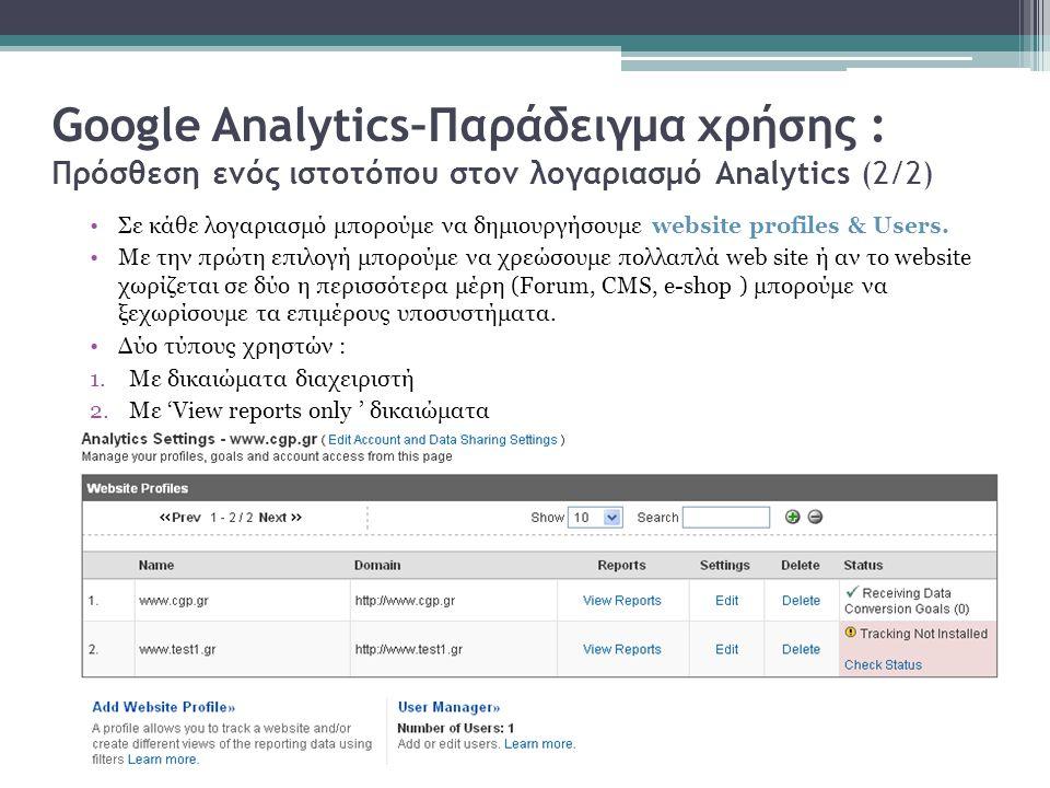 Google Analytics–Παράδειγμα χρήσης : Πρόσθεση ενός ιστοτόπου στον λογαριασμό Analytics (2/2) Σε κάθε λογαριασμό μπορούμε να δημιουργήσουμε website profiles & Users.
