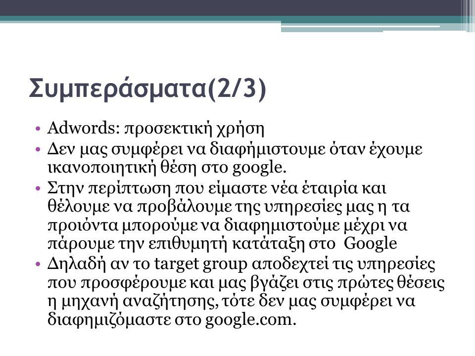 Συμπεράσματα(2/3) Adwords: προσεκτική χρήση Δεν μας συμφέρει να διαφήμιστουμε όταν έχουμε ικανοποιητική θέση στo google.