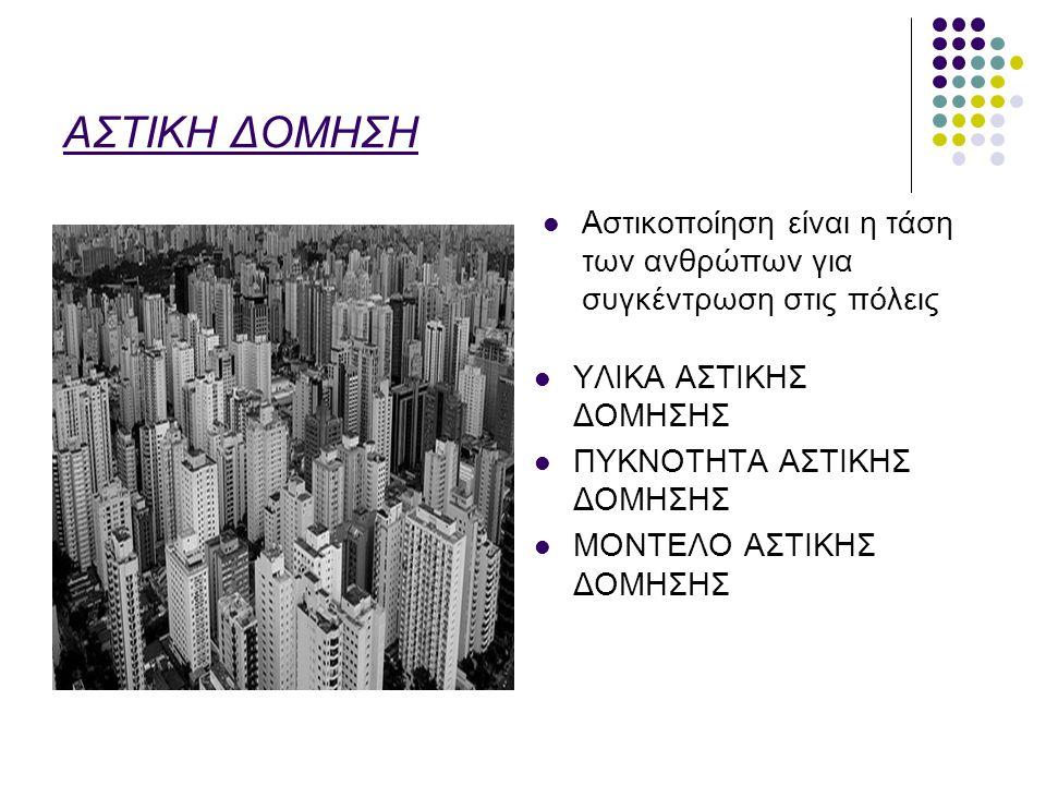 ΑΣΤΙΚΗ ΔΟΜΗΣΗ Αστικοποίηση είναι η τάση των ανθρώπων για συγκέντρωση στις πόλεις ΥΛΙΚΑ ΑΣΤΙΚΗΣ ΔΟΜΗΣΗΣ ΠΥΚΝΟΤΗΤΑ ΑΣΤΙΚΗΣ ΔΟΜΗΣΗΣ ΜΟΝΤΕΛΟ ΑΣΤΙΚΗΣ ΔΟΜΗΣ