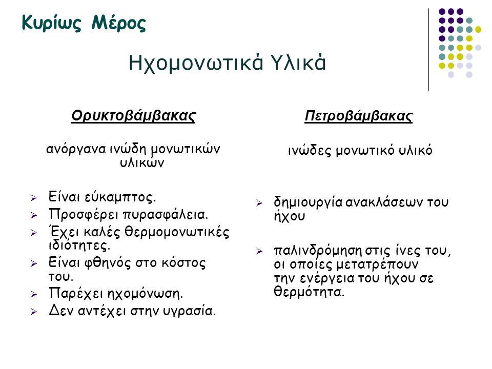 Ηχομονωτικά Υλικά Ορυκτοβάμβακας ανόργανα ινώδη μονωτικών υλικών  Είναι εύκαμπτος.  Προσφέρει πυρασφάλεια.  Έχει καλές θερμομονωτικές ιδιότητες. 