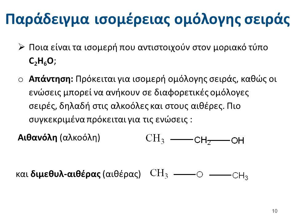 Παράδειγμα ισομέρειας ομόλογης σειράς  Ποια είναι τα ισομερή που αντιστοιχούν στον μοριακό τύπο C 2 H 6 O; o Απάντηση: Πρόκειται για ισομερή ομόλογης