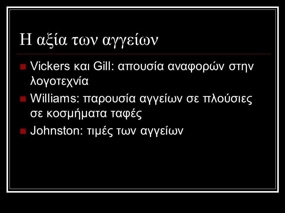 H αξία των αγγείων Vickers και Gill: απουσία αναφορών στην λογοτεχνία Williams: παρουσία αγγείων σε πλούσιες σε κοσμήματα ταφές Johnston: τιμές των αγγείων