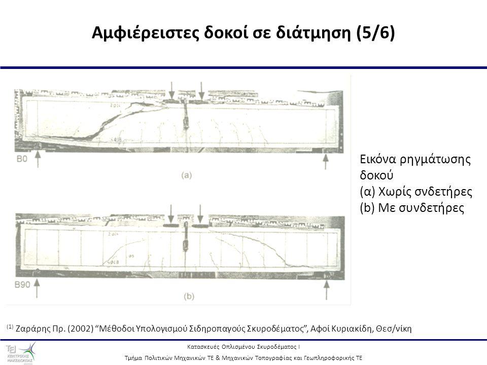 Κατασκευές Οπλισμένου Σκυροδέματος Ι Τμήμα Πολιτικών Μηχανικών ΤΕ & Μηχανικών Τοπογραφίας και Γεωπληροφορικής ΤΕ 11 Αμφιέρειστες δοκοί σε διάτμηση (5/6) Εικόνα ρηγμάτωσης δοκού (α) Χωρίς σνδετήρες (b) Με συνδετήρες (1) Ζαράρης Πρ.