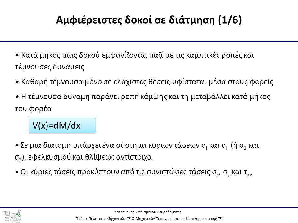 Κατασκευές Οπλισμένου Σκυροδέματος Ι Τμήμα Πολιτικών Μηχανικών ΤΕ & Μηχανικών Τοπογραφίας και Γεωπληροφορικής ΤΕ 8 Αμφιέρειστες δοκοί σε διάτμηση (2/6) Τροχιές κύριων τάσεων σε δοκό με ομοιόμορφη φόρτιση στο στάδιο Ι