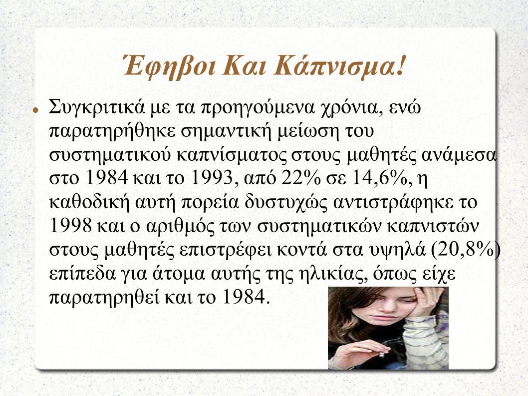 Έφηβοι Και Κάπνισμα! Συγκριτικά με τα προηγούμενα χρόνια, ενώ παρατηρήθηκε σημαντική μείωση του συστηματικού καπνίσματος στους μαθητές ανάμεσα στο 198