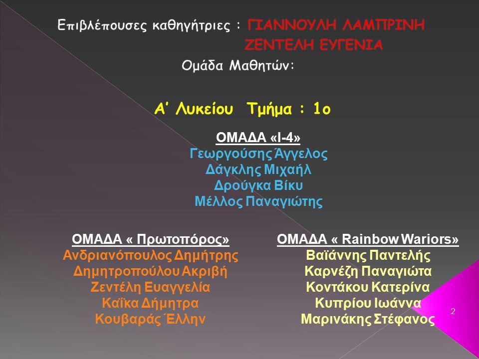 2 ΟΜΑΔΑ «Ι-4» Γεωργούσης Άγγελος Δάγκλης Μιχαήλ Δρούγκα Βίκυ Μέλλος Παναγιώτης ΟΜΑΔΑ « Rainbow Wariors» Βαϊάννης Παντελής Καρνέζη Παναγιώτα Κοντάκου Κατερίνα Κυπρίου Ιωάννα Μαρινάκης Στέφανος Α' Λυκείου Τμήμα : 1ο ΟΜΑΔΑ « Πρωτοπόρος» Ανδριανόπουλος Δημήτρης Δημητροπούλου Ακριβή Ζεντέλη Ευαγγελία Καΐκα Δήμητρα Κουβαράς Έλλην