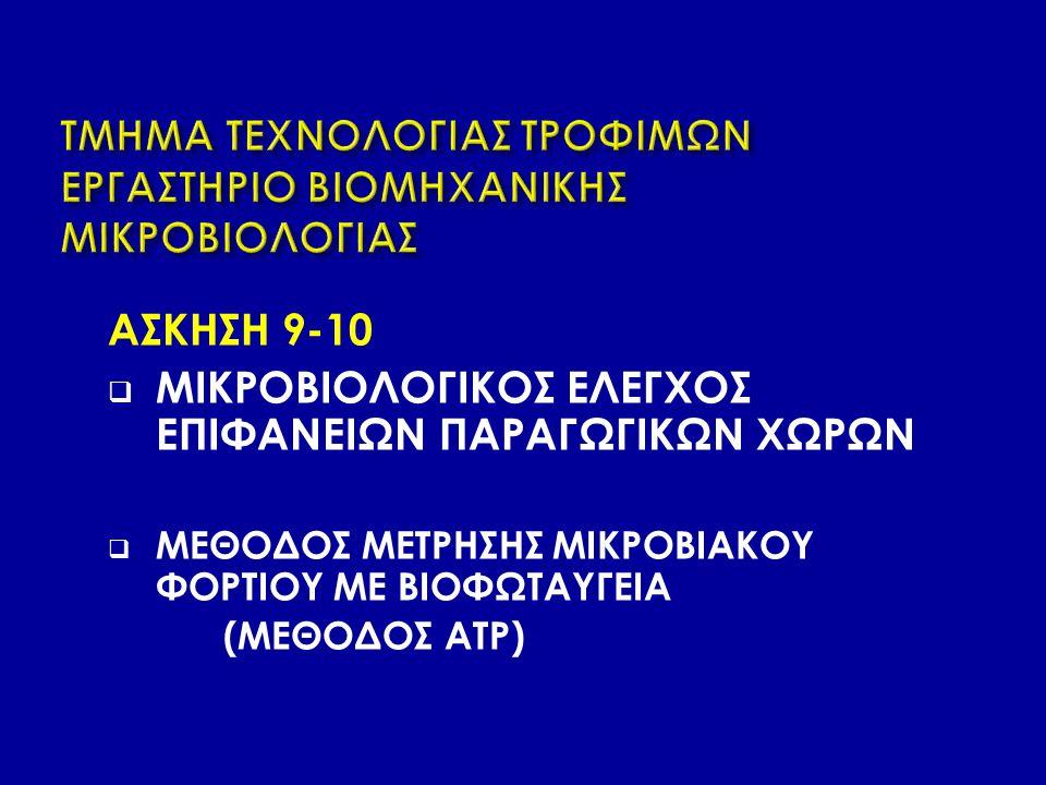 ΑΣΚΗΣΗ 9-10  ΜΙΚΡΟΒΙΟΛΟΓΙΚΟΣ ΕΛΕΓΧΟΣ ΕΠΙΦΑΝΕΙΩΝ ΠΑΡΑΓΩΓΙΚΩΝ ΧΩΡΩΝ  ΜΕΘΟΔΟΣ ΜΕΤΡΗΣΗΣ ΜΙΚΡΟΒΙΑΚΟΥ ΦΟΡΤΙΟΥ ΜΕ ΒΙΟΦΩΤΑΥΓΕΙΑ (ΜΕΘΟΔΟΣ ATP)