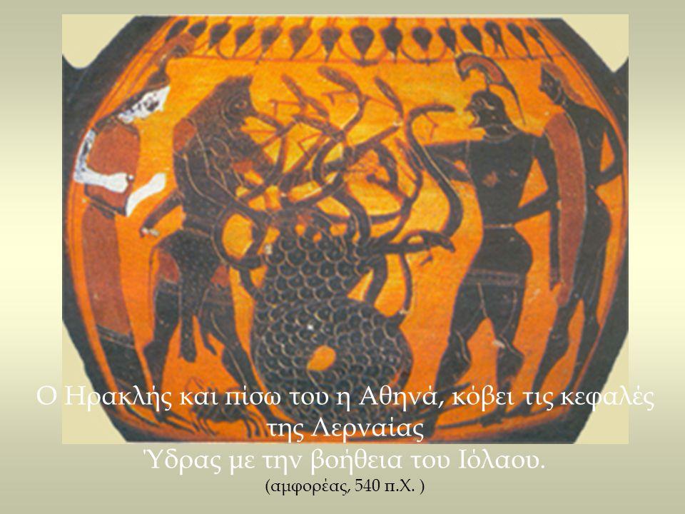 Ο Ηρακλής και πίσω του η Αθηνά, κόβει τις κεφαλές της Λερναίας Ύδρας με την βοήθεια του Ιόλαου. (αμφορέας, 540 π.Χ. )