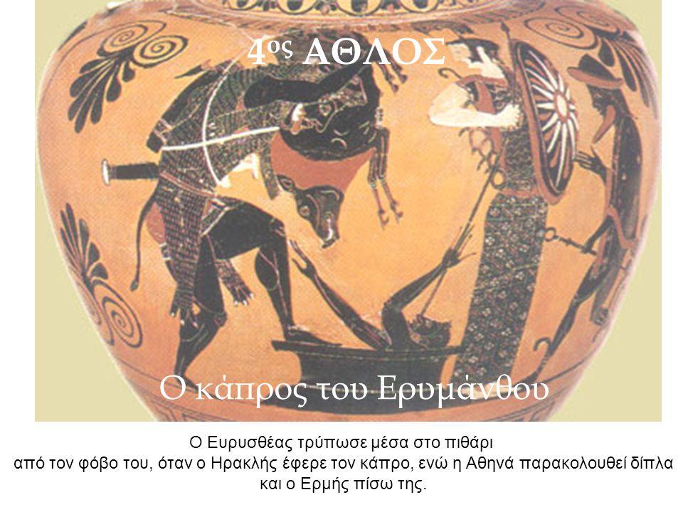 Ο Ευρυσθέας τρύπωσε μέσα στο πιθάρι από τον φόβο του, όταν ο Ηρακλής έφερε τον κάπρο, ενώ η Αθηνά παρακολουθεί δίπλα και ο Ερμής πίσω της. 4 ος ΑΘΛΟΣ