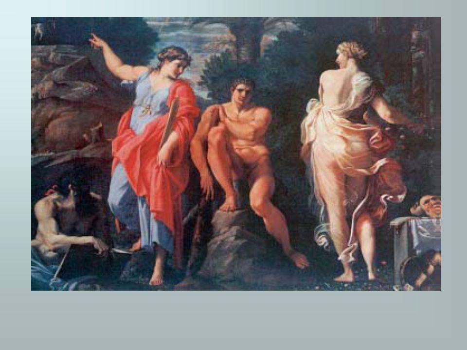 Ο Ηρακλής κρατάει στους ώμους του τη γη ενώ ο Άτλαντας του φέρνει τα μήλα.