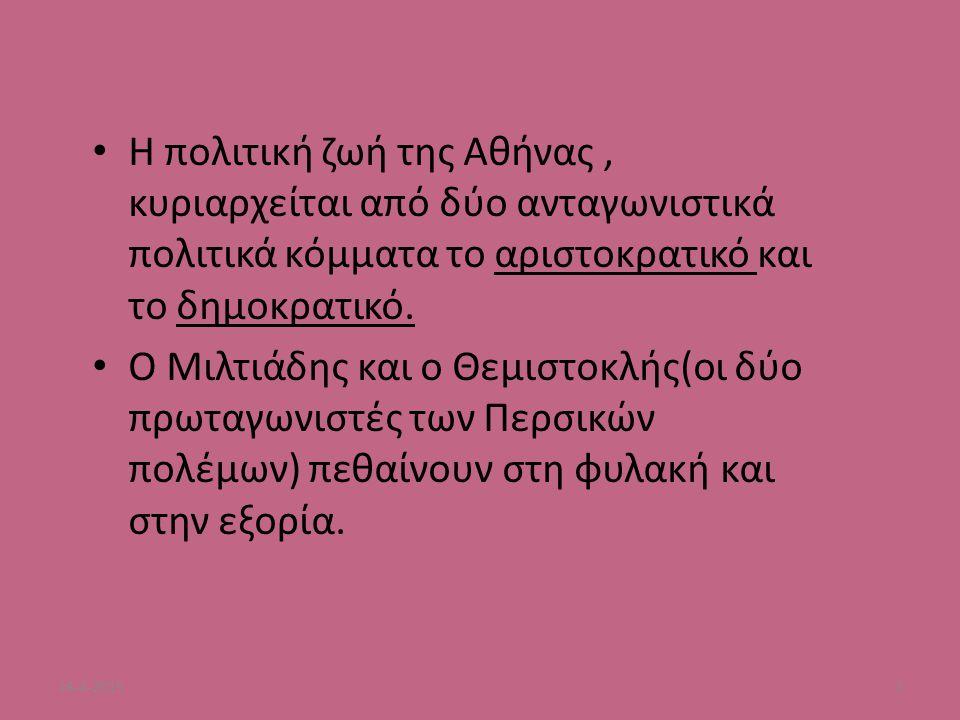 Η πολιτική ζωή της Αθήνας, κυριαρχείται από δύο ανταγωνιστικά πολιτικά κόμματα το αριστοκρατικό και το δημοκρατικό. Ο Μιλτιάδης και ο Θεμιστοκλής(οι δ