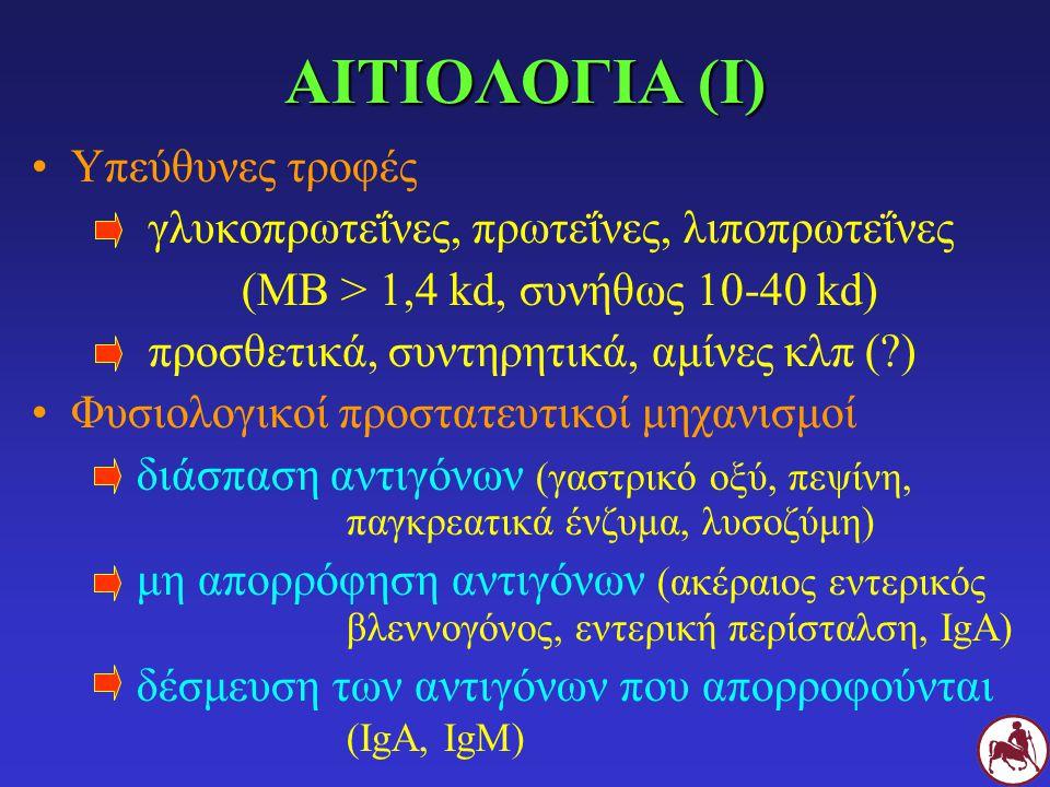 ΑΙΤΙΟΛΟΓΙΑ (ΙΙ) Προδιαθέτουν βλάβες εντερικού βλεννογόνου (παράσιτα, ιώσεις κλπ) έλλειψη IgA πρόωρος απογαλακτισμός Ευαισθητοποίηση: σε ένα (40%), δύο (40%) ή περισσότερα είδη τροφών Βοδινό, γαλακτοκομικά, σιτάρι > κοτόπουλο, αυγά, αρνί, σόγια > καλαμπόκι, χοιρινό, ρύζι, ψάρι