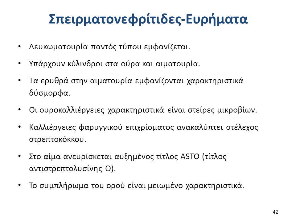 Σπειρματονεφρίτιδες-Ευρήματα Λευκωματουρία παντός τύπου εμφανίζεται. Υπάρχουν κύλινδροι στα ούρα και αιματουρία. Τα ερυθρά στην αιματουρία εμφανίζοντα