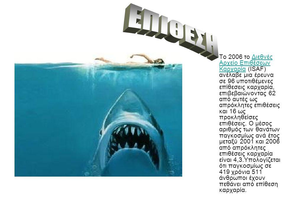 Το 2006 το Διεθνές Αρχείο Επιθέσεων Καρχαρία (ISAF) ανέλαβε μια έρευνα σε 96 υποτιθέμενες επίθεσεις καρχαρία, επιβεβαιώνοντας 62 από αυτές ως απρόκλητες επιθέσεις και 16 ως προκληθείσες επιθέσεις.