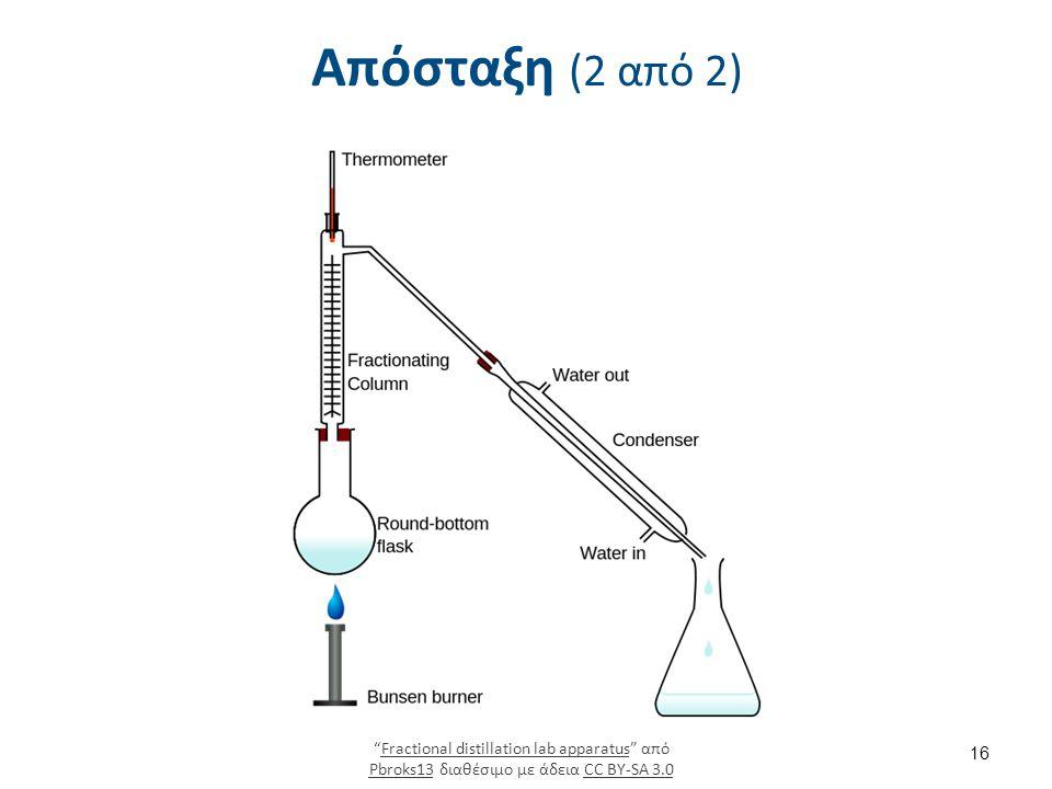 """Απόσταξη (2 από 2) """"Fractional distillation lab apparatus"""" από Pbroks13 διαθέσιμο με άδεια CC BY-SA 3.0Fractional distillation lab apparatus Pbroks13C"""