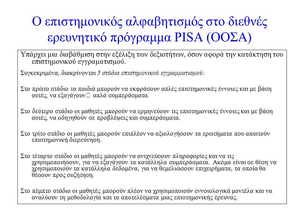 Ο επιστημονικός αλφαβητισμός στο διεθνές ερευνητικό πρόγραμμα PISA (ΟΟΣΑ) Υπάρχει μια διαβάθμιση στην εξέλιξη των δεξιοτήτων, όσον αφορά την κατάκτηση του επιστημονικού εγγραματισμού.