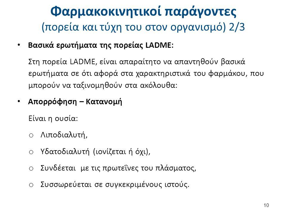 Βασικά ερωτήματα της πορείας LADME: Στη πορεία LADME, είναι απαραίτητο να απαντηθούν βασικά ερωτήματα σε ότι αφορά στα χαρακτηριστικά του φαρμάκου, πο