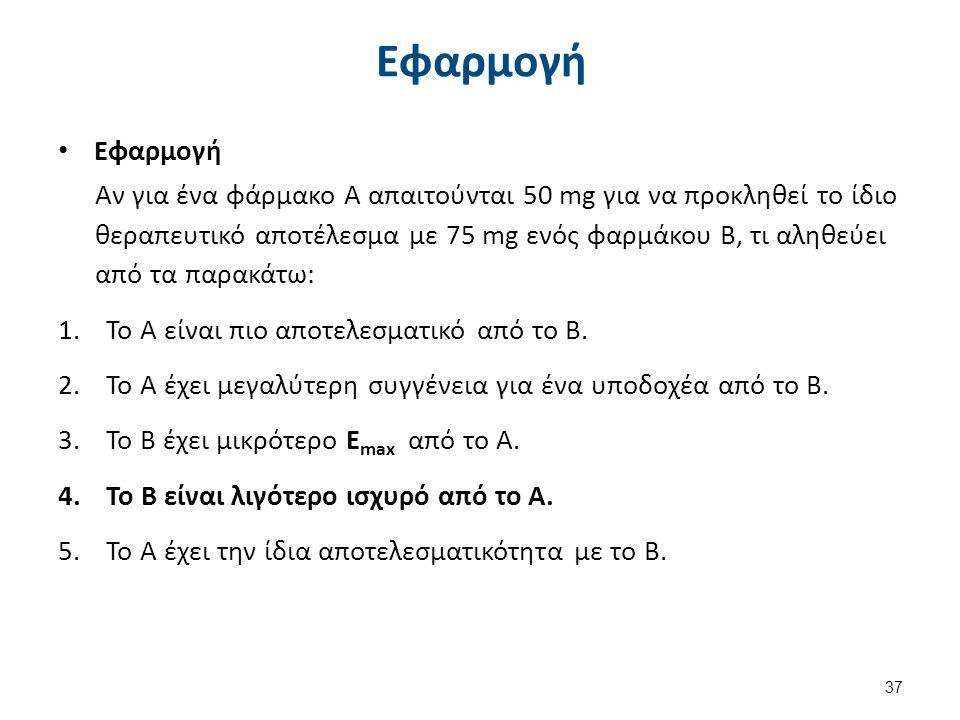 Εφαρμογή Αν για ένα φάρμακο Α απαιτούνται 50 mg για να προκληθεί το ίδιο θεραπευτικό αποτέλεσμα με 75 mg ενός φαρμάκου Β, τι αληθεύει από τα παρακάτω: