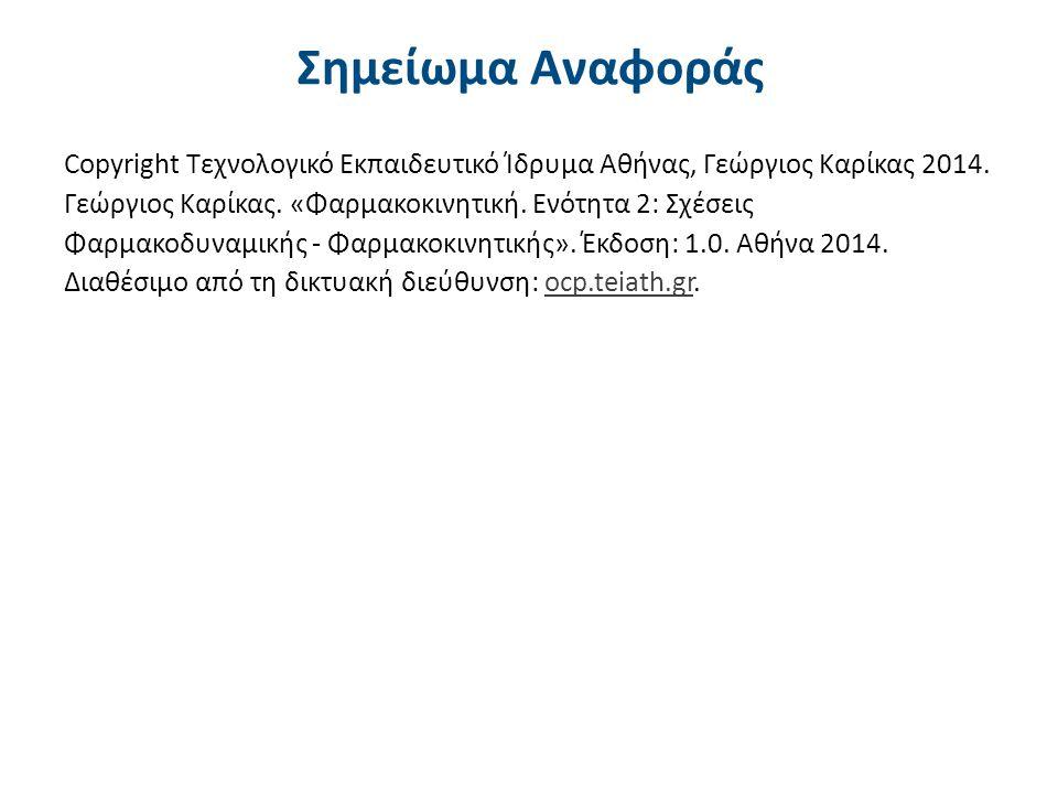 Σημείωμα Αναφοράς Copyright Τεχνολογικό Εκπαιδευτικό Ίδρυμα Αθήνας, Γεώργιος Καρίκας 2014. Γεώργιος Καρίκας. «Φαρμακοκινητική. Ενότητα 2: Σχέσεις Φαρμ
