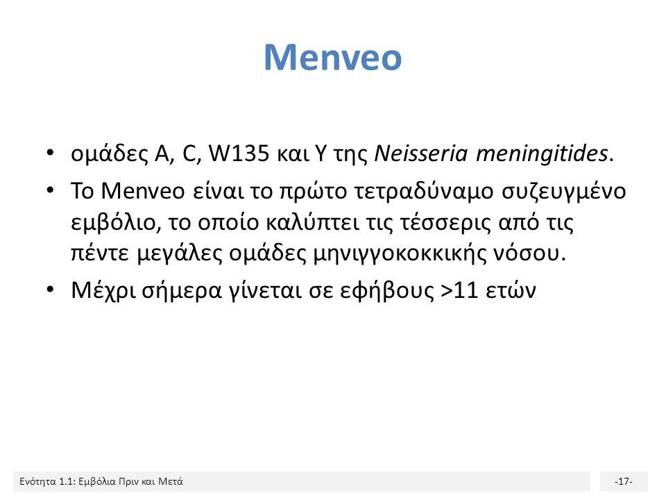 Ενότητα 1.1: Εμβόλια Πριν και Μετά-17- Menveo ομάδες Α, C, W135 και Υ της Neisseria meningitides. Το Menveo είναι το πρώτο τετραδύναμο συζευγμένο εμβό